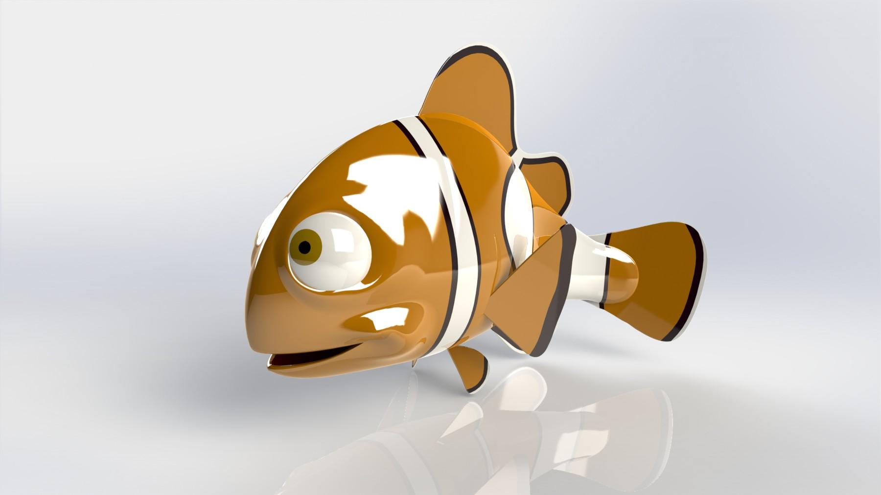 3D модель рыбы выполнена в Solidworks